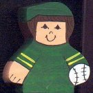 Baseball Player - Brown Hair - Green Jersey - Sports Wooden Miniature