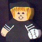 Baseball Player - Blonde Hair - Black Jersey - Sports Wooden Miniature