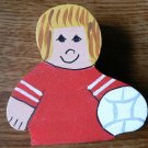 Volleyball Player - Blonde Hair - Red Jersey - Sports Wooden Miniature