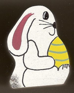 Bunny with Egg - Yellow -  Easter Wooden Miniature