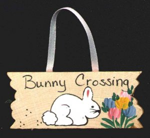 Bunny Crossing Sign -  Easter Wooden Miniature