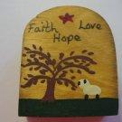 Primtive Faith-Hope-Love Scene - Wooden Miniature