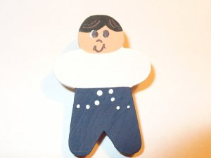 Black Hair Boy Pin for Embroidered Sweatshirt