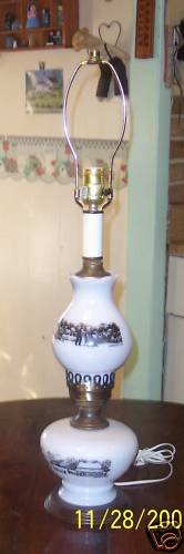 Rare Milk Glass Currier & Ives Farm Scene Table Lamp