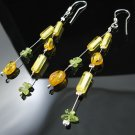.925 Silver 2 Strand Amber Nuggets and Peridot Earrings