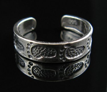 NEW .925 Sterling Silver Adjustable Footprints Toe Ring