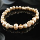 """7"""" Tan Cultured Freshwater Pearl Stretch Bracelet - NEW"""
