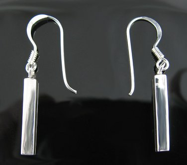 .925 Sterling Silver Square Bars French Wire Earrings!
