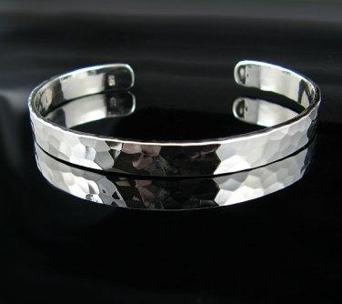 "7"" Sterling Silver Hammered Design Cuff Bracelet - NEW!"