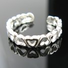 .925 Sterling Silver Heart Links Adjustable Toe Ring !