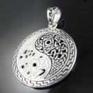 .925 Sterling Silver Celtic Knot Weave Yin Yang Pendant
