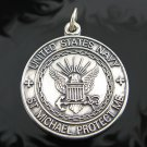 .925 Sterling Silver U.S. Navy St. Michael Pendant !