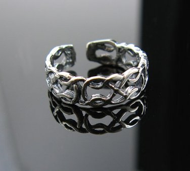 .925 Silver Irish Celtic Knot Open Weave Toe Ring -NEW!