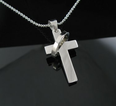 Polished Stainless Steel Cross Pendant w/Wrapped Ring!