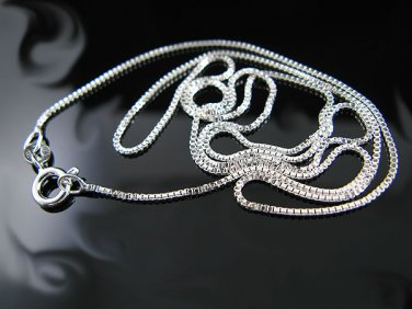 """.925 Sterling Silver 16"""" 1.00mm Box Chain Necklace -NEW"""