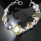 "925 Silver 7.5"" Amethyst Citrine Quartz Toggle Bracelet"