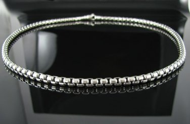 ".925 Silver 5mm Box Chain Necklace Szs. 18"" or 22"""