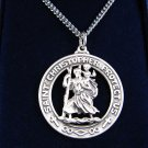 .925 Sterling Silver St. Christopher Pendant & Necklace