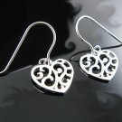 .925 Silver Cut Out Filigree Heart French Wire Earrings