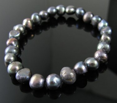 """7"""" Peacock Cultured Freshwater Pearl Stretch Bracelet"""