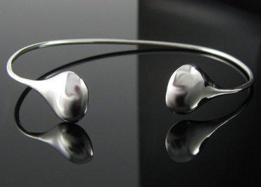 "8"" .925 Silver Adjustable Teardrop End Cuff Bracelet"