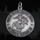 .925 Sterling Silver U.S. Marines St. Michael Pendant !