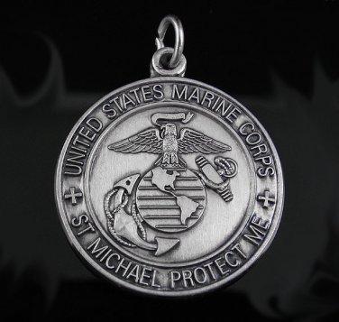 .925 Sterling Silver U.S. Marines St. Michael Pendant !