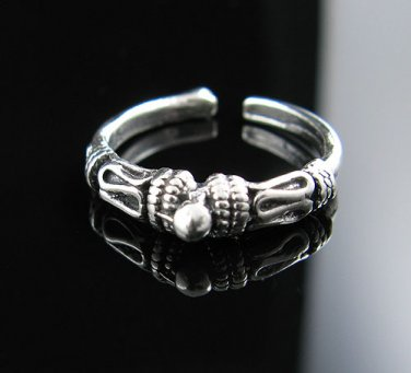 .925 Silver Antiqued Bali Rope Design w/Bead Toe Ring !