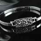 """7"""" .925 Polished Silver Flower Design Bangle Bracelet !"""