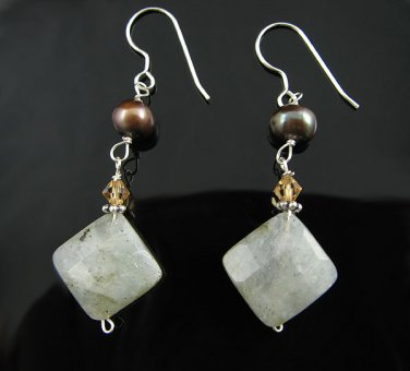 .925 Silver Pearl and Labradorite Dangle Earrings
