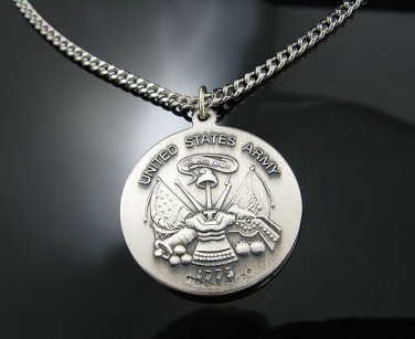 .925 Silver U.S. Army Saint Christopher Pendant w/Chain