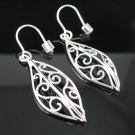 .925 Sterling Silver Leaf Shape French Wire Earrings!