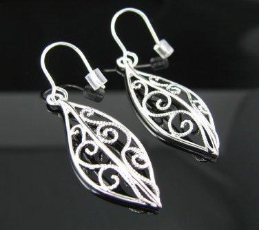 .925 Sterling Silver Leaf Shape French Wire Earrings!