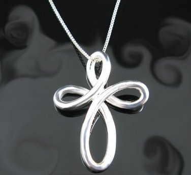 .925 Polished Sterling Silver Woven Crucifix Pendant !