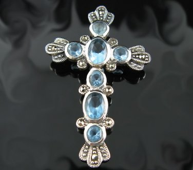 .925 Sterling Silver and Marcasite Stones Cross Pendant