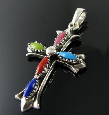 .925 Silver and Multi-Color Stones Crucifix Pendant