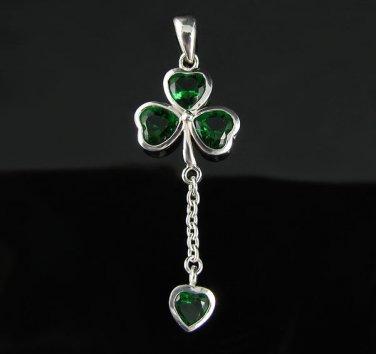 .925 Silver Emerald Green Shamrock and Heart Pendant