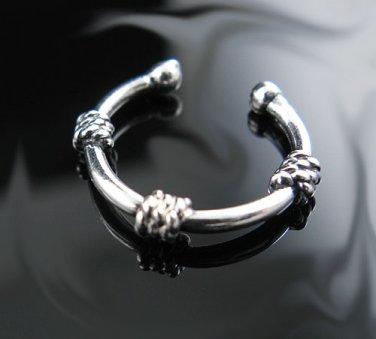 .925 Silver Bali Triple Rope Design Ear Cuff Ear Hugger