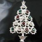 Silver Christmas Tree Pin w/Genuine Swarovski Crystals!
