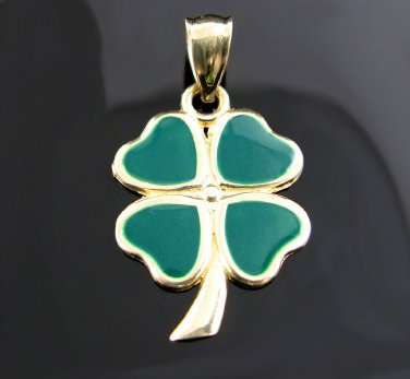 14kt Gold 4 Leaf Clover Pendant - Luck of the Irish!