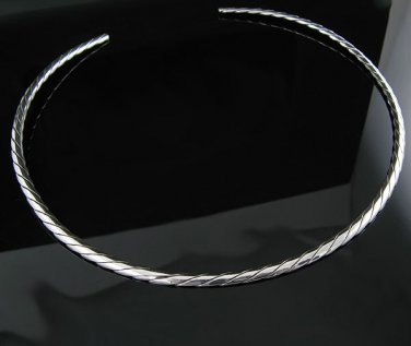"""17"""" .925 Silver 4mm Twisted Rope Choker Collar Necklace"""