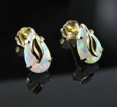 14kt Gold and Glimmering Opal Leaf Design Post Earrings