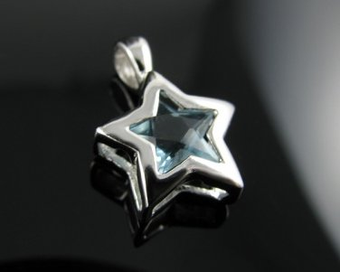 .925 Sterling Silver Aqua Blue CZ SUPER STAR Pendant !!