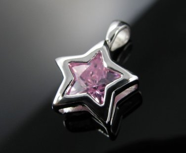 Genuine .925 Sterling Silver Pink CZ SUPER STAR Pendant