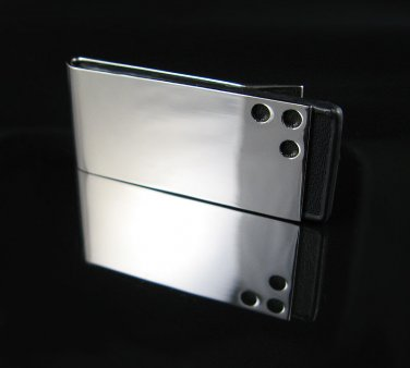 Polished Stainless Steel and Black Leather Money Clip!!