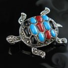 .925 Silver Turtle Pin with Coral, Turquoise, and Onxy!