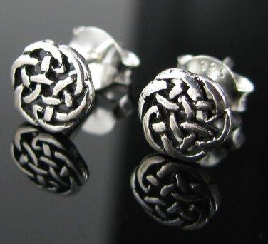 Silver .925 Antiqued Irish Celtic Knot Weave Earrings