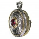 Gerochristo 3275 - Solid Gold & Silver Engraved Oval Locket Pendant