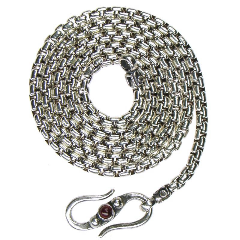 Gerochristo 3055 - Sterling Silver Byzantine Chain with Garnet - 40 cm