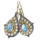 Gerochristo 1196 - Gold, Silver, Aquamarine & Pearls Medieval-Byzantine Earrings